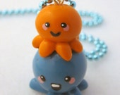 Double Team Teal and Orange Octopus Ball Chain Necklace