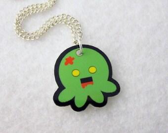 Zombie Green Octopus Pendant