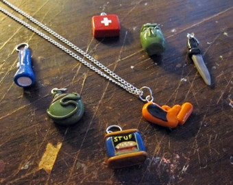 Survive the Zombie Apocalypse Pendant Set with 7 Charms