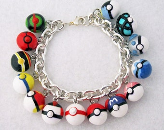 Custom Pokemon Pokeball Video Game Anime Bracelet with Your Choice of 14  Charms Gotta Catch Them All