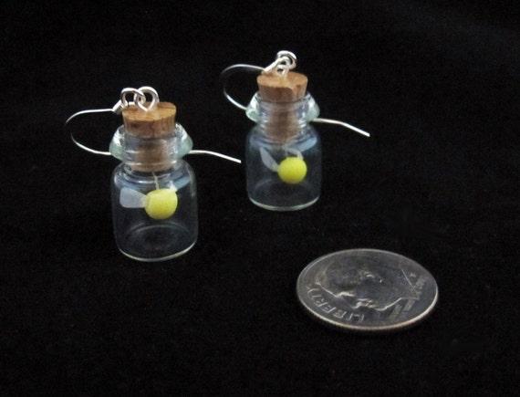 Yellow Glow in the Dark Fairy Bottle  Earrings Legend of Zelda