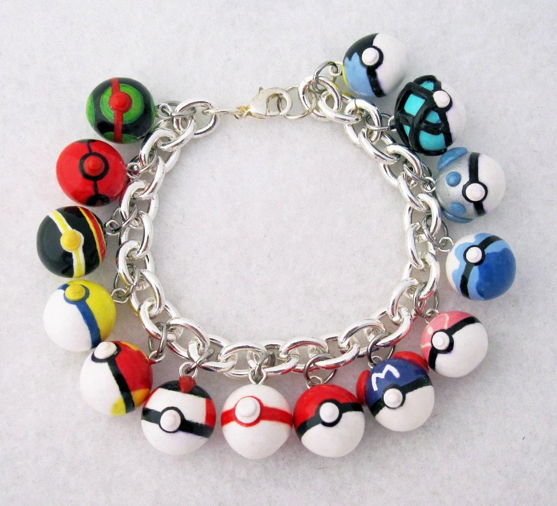 custom pokemon pokeball video game anime bracelet with your. Black Bedroom Furniture Sets. Home Design Ideas