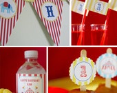 Circus Carnival Birthday Party - PRINTABLE ONLY - Banner, Toppers, Tags, Invitation and more