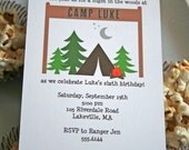 Camping Birthday Party Invitation - PRINTABLE only