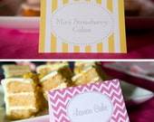 Menu or Food cards - custom tented cards for buffet table for a party or shower