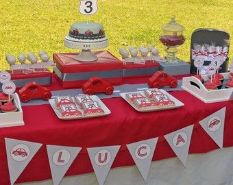 Red Car Birthday Party - PRINTABLE ONLY - Banner, Toppers, Tags, Invitation and more
