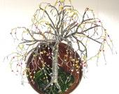 Beaded on Round - wall art sculpture - Original