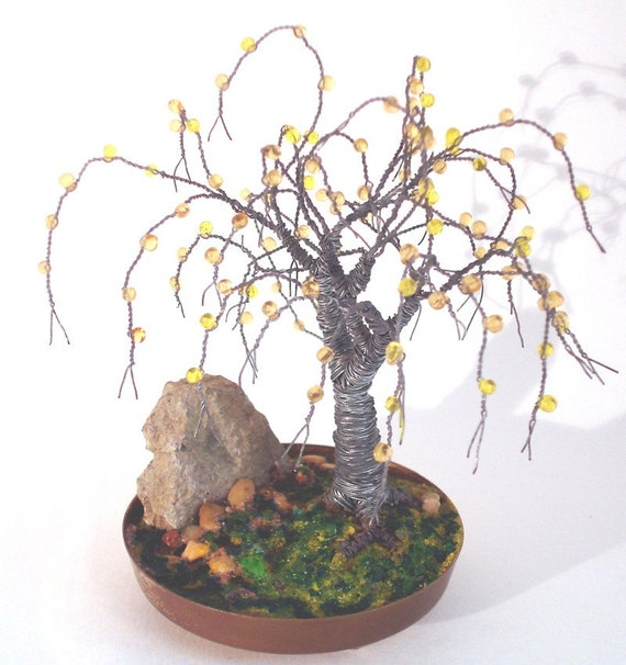 Beaded in Brass Base, wire tree sculpture, Original