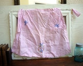 Vintage pink sweet cotton embroidered birdie apron