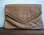 Vintagebrown faux leather clutch with hand printed row of birds