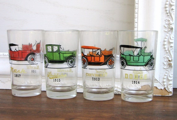 Vintage Set Of Four Antique Car Drinking Glasses By