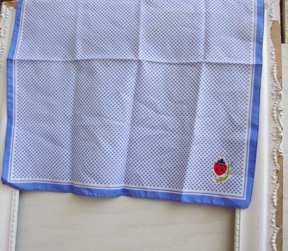 Vintage blue polka dot ladybug hankie