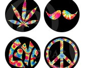 Groovy Tie Die Colorful Hippie Retro Peace Sign Love Marijuana Leaf Birds Magnets or Pinback Buttons or Flatback Medallions Set of 4