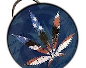 Grunge Patriotic Marijuana Leaf  2 1/4 Inch  Bottle Opener OR Keychain Or Pocket Mirror
