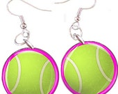 Tennis  Sports Balls 1 Inch Button Earrings - Choose Your Color and Sport