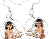 The Bride Pinup Girl 1 Inch Button Earrings or 1 Inch Button Pendant Necklace with Chain