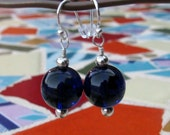 Big Beautiful Deep Cobalt Blue Glass and Silver Earrings