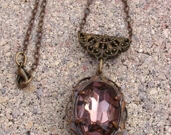 Large Vintage Purple Rhinestone Filigree Pendant on Vintage Chain Necklace
