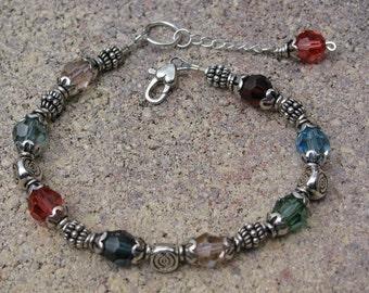 Swarovski Crystal Bracelet Silver Beads Heart Shape Clasp