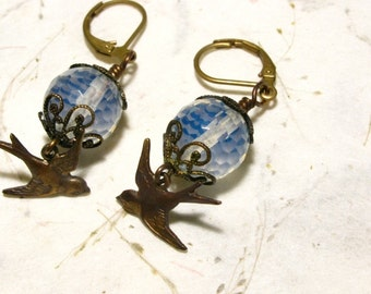 Filigree Swallow Earrings with Faceted Opalescent Czech