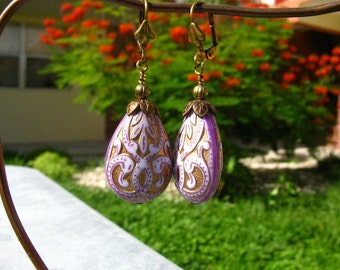 Lavender Purple Brocade Pear Earrings
