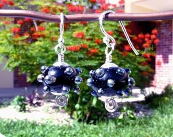 Oily Black and Silver Bumpy Bead Lampwork Earrings