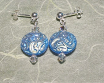 Iridescent Blue Brocade Earrings with Aurora Borealis Crystals