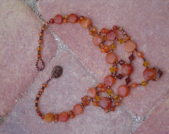 Lavish Carnelian Statement Bib Necklace Swarovski Accents