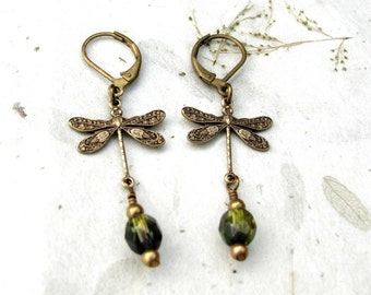 On Dragonfly Pond Tiny Brass Dragonfly Earrings Moss Green and Vibrant Blue