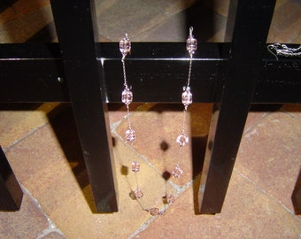 Sparkling Pink Cube Beads on Sterling Silver Chain Necklace with Matching Earrings