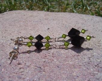 Swarovski And Silver Earrings Jet Black And Olivine Green Swarovski
