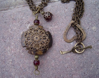 Celtic Cross in Bronzite and Filigree Pendant with Garnets and Double Brass Chain