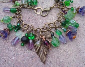 Violets In My Garden Floral Charm Bracelet