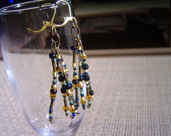 Blues and Golds Seed Bead Tassel Tribal Style Earrings