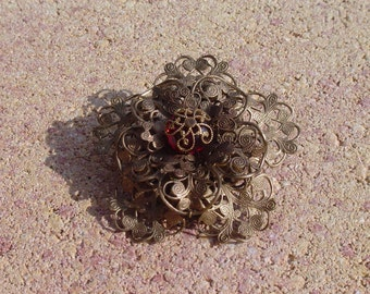 Brass Filigree Triple Layered Flower Brooch with Deep Wine Red Faceted Czech Glass Bead