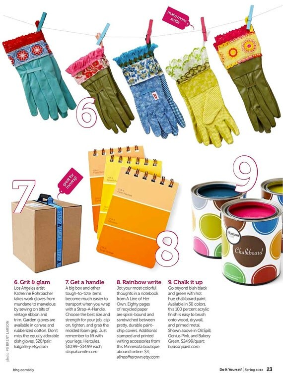 designer garden gloves as seen in better homes and gardens diy magazine