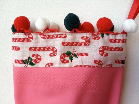 Designer Holiday Pink Rubber Dish Gloves - Candy Cane - Medium