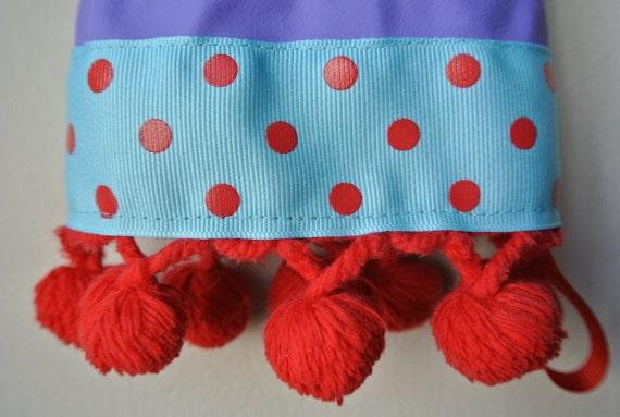 Designer Rubber Dish Gloves - Purple, Blue and Red Polka Dots - Medium
