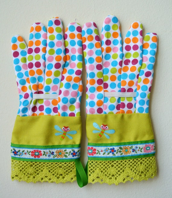 KIDS Designer Garden Gloves - As seen in Better Homes and Gardens DIY Magazine - Colorful Flowers,  Lime Green Crocheted Lace - One Size