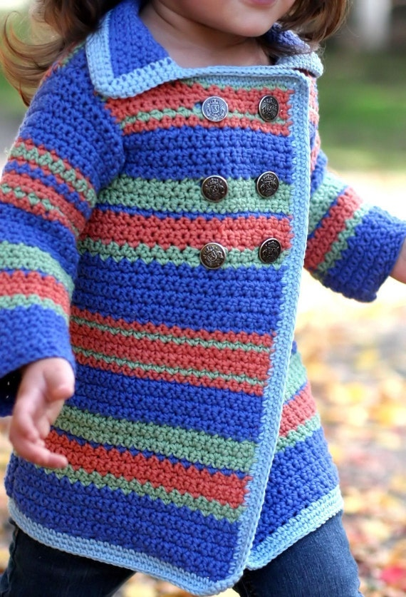Items similar to Crochet Pattern - Childs Pea Coat ...