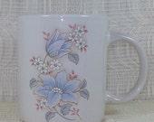 White Coffee Mug with Floral Decor / Ceramic Coffee Mug / Unique Coffee Mug / Coffee Mug with Serenity Prayer / Unique Mug