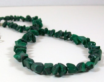 Malachite Chip Necklace | Beaded Necklace | Green Necklace | Southwest Style Necklace