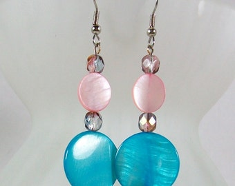Shell Earrings For Women / Beaded Earrings / Handmade Earrings / Drop Earrings / Blue Earrings / Blue Drop Earrings / Pink Earrings