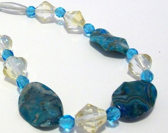 Blue Agate Necklace | Handmade Agate Necklace | Blue Agate Jewelry