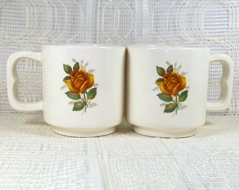 Ceramic Coffee Mug Set / Tea Cups / Unique Coffee Mugs / Floral Decor / Stacking Mugs  / Handmade Ceramic Mugs / Coffee Cups