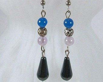 Dangle Earrings with Hematite, Blue Onyx, and Amethyst Beads | Handmade Dangle Earrings | Handmade Drop Earrings | Beaded Earrings