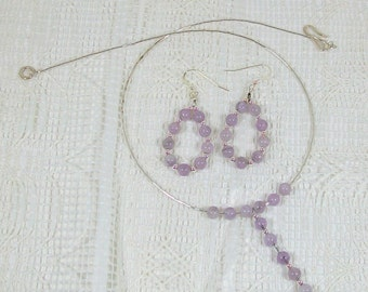 Amethyst Necklace and Earring Ensemble | Amethyst Earrings and Necklace | Handmade Amethyst Jewelry