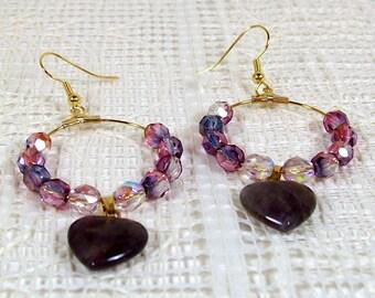 Amethyst Earrings | Hoop Earrings | Crystal Earrings | Beaded Earrings | Lavender Earrings | Purple Earrings | Drop Hoop Earrings
