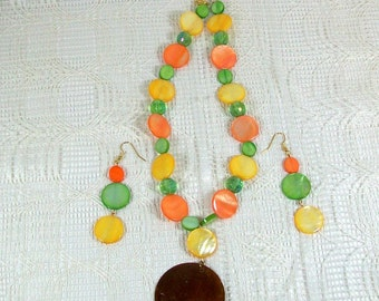 Necklace and Dangle Earring Set | Jewelry Ensemble in Citrus Colors | Handmade Necklace and Earrings | Colorful Jewelry