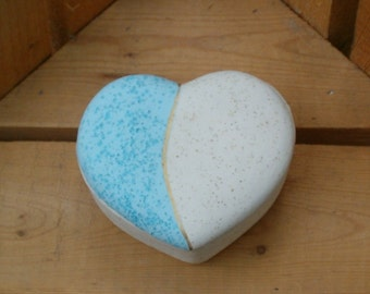 Heart Shaped Box / Trinket Box / Handmade Ceramic Treasure Box / Keepsake Box / Prayer Box / Southwestern Decor / Desk Decoration